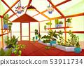 Greenhouse interior with garden inside, orangery 53911734