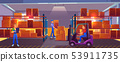 Logistics, warehouse interior with workers inside 53911735