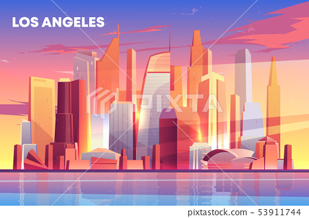 Los Angeles city skyline architecture waterfront 53911744