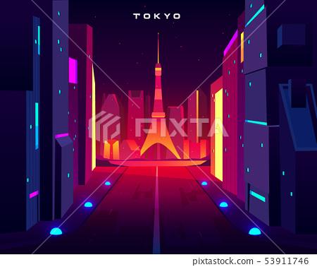 Tokyo city night skyline with skytree tower view 53911746