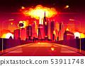 Nuclear explosion city metropolis mushroom cloud 53911748