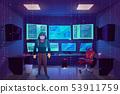 Hacker in server room, multiple computer monitors 53911759