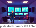 Security guard in control cctv room with monitors 53911762