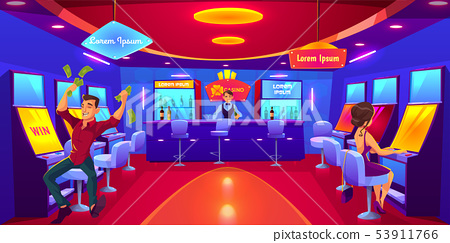 People gambling in casino playing on slot machines 53911766
