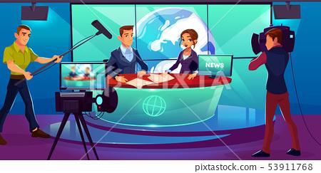 Tv studio, television presenters reporting news 53911768
