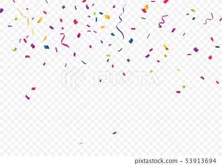 Colorful ribbon and confetti 53913694