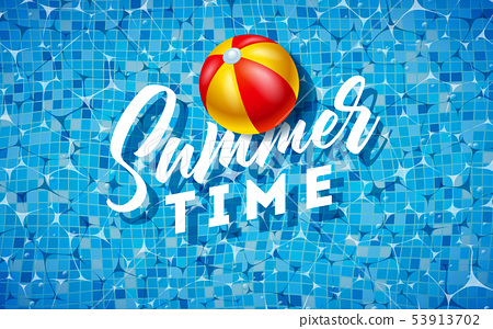 Summer Time Illustration with Beach Ball on Water in the Tiled Pool Background. Vector Summer 53913702