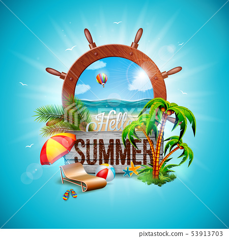 Vector Summer Holiday Illustration with Ship Steering Wheel and Exotic Palm Leaves on Blue 53913703