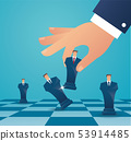 businessman play chess figure. business strategy 53914485