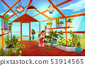 Woman in greenhouse care of garden plants orangery 53914565