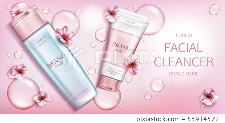 Facial cleanser cosmetics bottles mockup banner 53914572