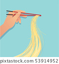 hand holding chopsticks with noodle asian food 53914952