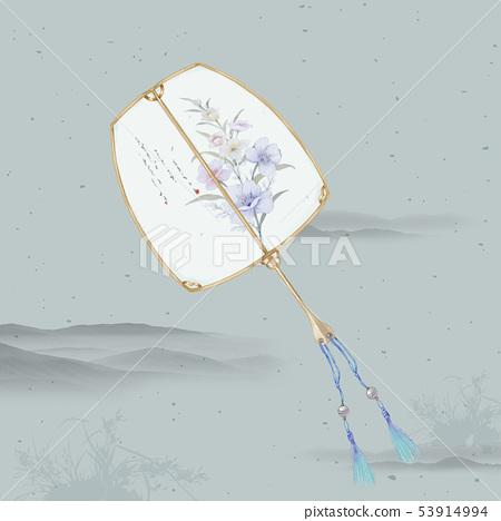중국 스타일 디자인, 다채로운 수채화 꽃, 초대장 카드 디자인 53914994