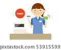 便利店職員卡片運作的人例證 53915599