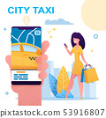 Girl Holding Mobile Phone with City Taxi App. 53916807