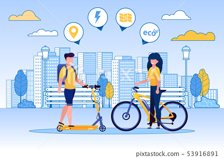 Man Riding Scooter, Woman on Bicycle, Eco Concept. 53916891