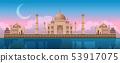 Sunset at Taj Mahal in Agra, India, panoramic city vector 53917075