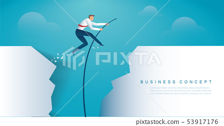 businessman jumping with pole vault 53917176
