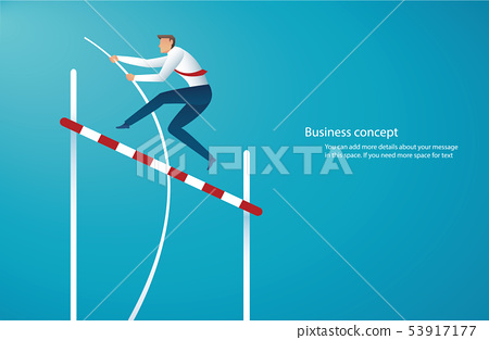 businessman jumping with pole vault 53917177