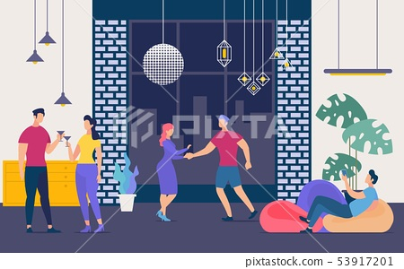 People Have Fun on Party in Nightclub Flat Vector 53917201