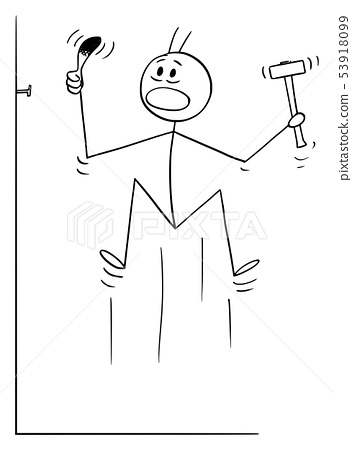 Vector Cartoon of Man Hitting His Finger While Driving or Hammering or Knocking a Nail. 53918099