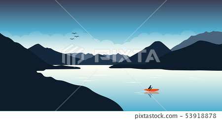 lonely canoeing adventure with orange boat on the lake 53918878