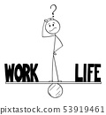 Vector Cartoon of Man or Businessman Thinking on Seesaw and Balancing Time Between Work and Life 53919461