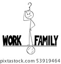 Vector Cartoon of Man or Businessman Thinking on Seesaw and Balancing Time Between Work and Family 53919464
