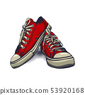 Red Color Vector Sneakers on iSolated White 53920168