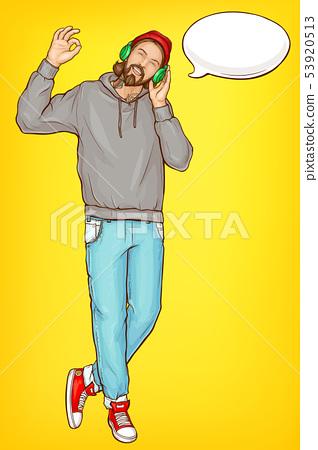 Hipster man in headphones cartoon vector portrait 53920513