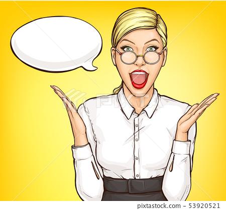 Portrait of surprised businesswoman pop art vector 53920521