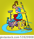 cleaning lady washes the floor 53920908