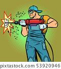 working hammer drills wall 53920946