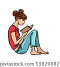 Teen girl reading a book 53920982