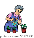 Old woman watering potted flowers 53920991
