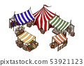 Vector isometric house. Old European market. Vector isolated object on white 53921123