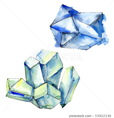 Colorful diamond rock jewelry minerals. Watercolor background set. Isolated crystals illustration 53922136