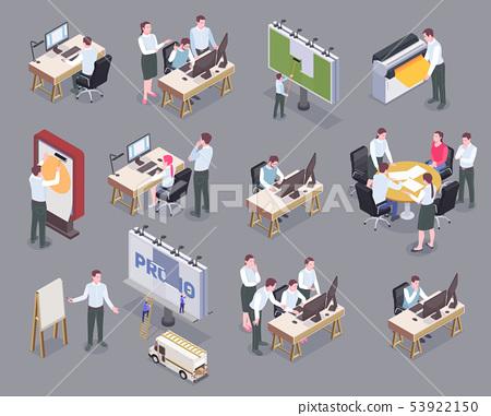 Advertising Agency Isometric Icons Set 53922150