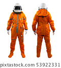 Set of two astronauts wearing space suit with helmet isolated on a white background 53922331