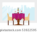 Reserved modern restaurant table with tablecloth, wineglasses, reservation tabletop two chairs 53922595