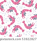 Cute seamless pattern with doodle shrimps 53922827