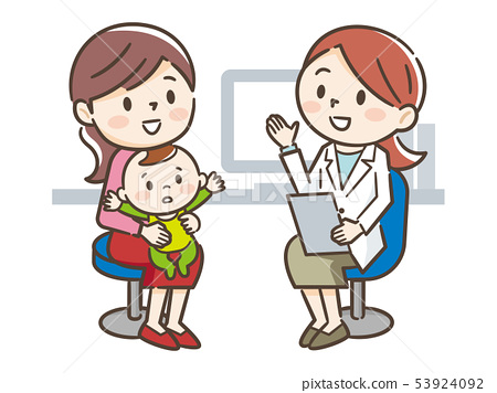 Female doctor and mother and baby 53924092