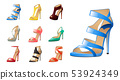 Collection of various fashion shoes isolated on white 53924349