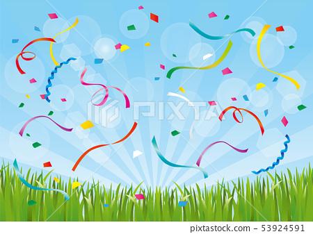 푸른 하늘과 잔디와 색종이 53924591