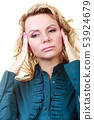 Elegant woman with headache 53924679