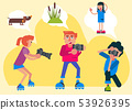 Proffecional photographer vector cartoon people holding camera to take a photography of sedge 53926395