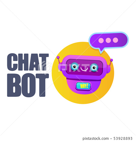 cute chatbot character or intelligent assistant with speech bubble isolated on white background 53928893