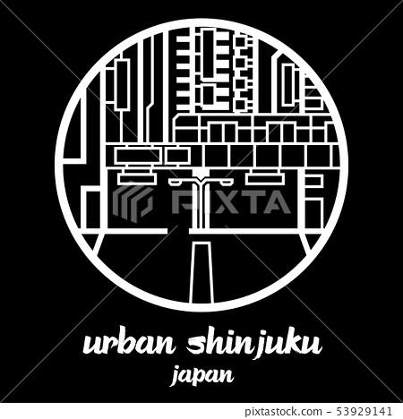 Circle icon line urban shinjuku. vector EPS10 53929141