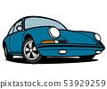 德國歷史的體育藍色汽車例證 53929259