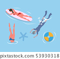 People Diving Legs Up, Man in Flippers and Mask 53930318